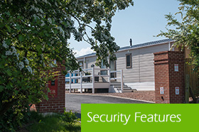 Security features including barrier entry and CCTV